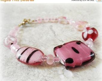50% OFF SALE Pink Jewelry. Glass Bead Bracelet. Toggle Bracelet.