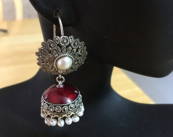 Jaipur Jhumkas-J506-Red Enameled South Indian Marcasite Jhumkas with Pearls