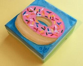 Mini Donut Art, The Daily Treat, Miniature Painting, 4x4 acrylic canvas
