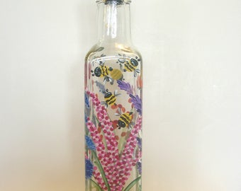 Hand Painted Wild Flowers Pour Oil Vinegar Soap Bottle Bumblebees Butterflies Purple Pink  Blue Red Orange Yellow Green