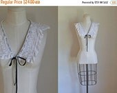 25% off SALE vintage 1930s crochet collar - FIREFLY white lace detachable collar
