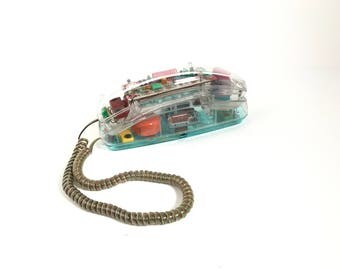 sweet PASTEL clear vintage 90's Saved by the Bell landline phone in excellent condition.