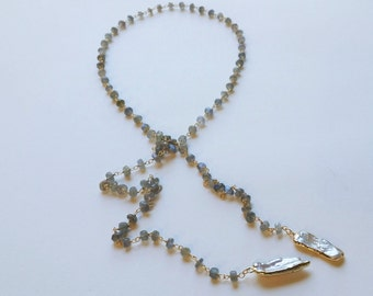 Labradorite Lariat Necklace, Biwa Pearl Lariat Necklace, Labradorite Pearl Necklace, Wrapped Chain Necklace