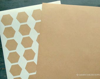 "120 Kraft Hexagonal Stickers, 1.67"" x 1.45"" (42.4x36.7mm) Hexagons, Kraft Brown, Honeycomb Recycled Stickers, Eco-friendly Labels (5 sheets)"