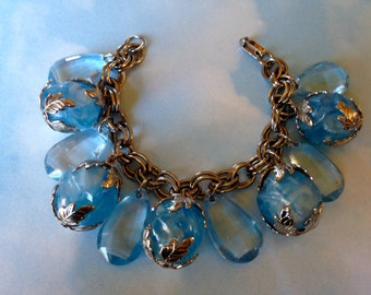 Vintage Blue Faceted Crystal Like Cast Plastic ChArm Bracelet Silver Filigree Capped Marblized Lpadtic Beads Gorgeous