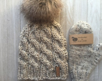 2 -Piece Set: Chunky Knitted Cable Hat With Faux Fur Pom Pom - Chunky Knitted Hat - Hand Knitted Mittens - Faux Pom Pom - Knitted Mittens
