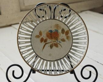 Vintage Round Reticulated Metal Bowl, White Metal Lattice Work, Vintage Cottage Decor, English Cottage, Antique Worn White Metal Bowl