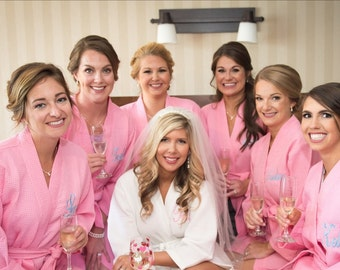Set of 6 Rose Spa Robes Bridesmaids Robes Kimono Robe Bridal Party Gifts Kimono Robes Knee Length Bridesmaid Robes Front embroidery included
