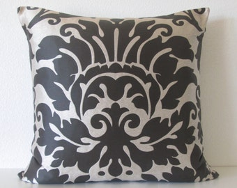 Metallic Silver Black Damask Pillow Cover
