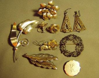 Vintage Sterling Silver Lot 4 Pins Brooches Ladies Flower Ring & 2 Pairs Earrings 8818