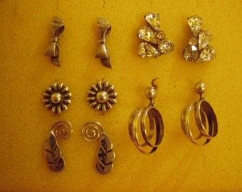 Vintage Sterling Silver Lot 5 Pairs Screw Back Earrings Hoops Daisy Bow Leaf Rhinestones 8852