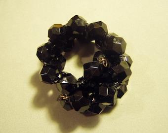 Vintage Miriam Haskell Marked Black Plastic Bead Spiral Bracelet Big Clunky Chunky 9028