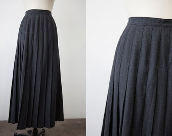 Vintage Charcoal Gray Wool Maxi Ankle Length Pleated Skirt Classic S
