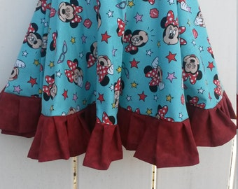 Size 3 Red and Aqua Minnie Mouse Girls Ruffled Twirl Skirt READY to SHIP