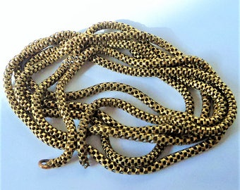 Victorian Guard or Muff Chain... Gold Snake Chain ... Long For Repair Repurpose