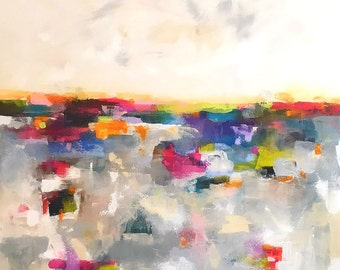 Large Colorful Abstract Landscape Original Painting -Mosaic Color Horizon 36 x 48