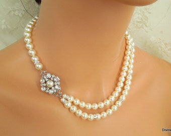 Pearl Necklace Bridal Pearl Necklace White Swarovski Pearls Bridal Rhinestone Necklace Pearl and Rhinestone Necklace Bridal Necklace EUGENIE