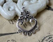 24 pcs Antique silver heart earring Connector pendant, charm Metal Earring Components ,earring Pendant charm