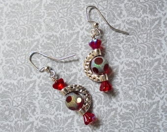 Red and Silver Boho Earrings (3334)