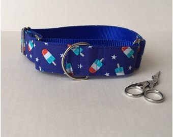 4th of July Popsicle 1.5 Martingale Dog Collar
