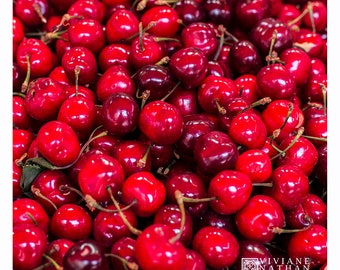 Cherries photography, cherry, Fruit photography, Food photography, Kitchen art,square print, red, market photography, farmers market art
