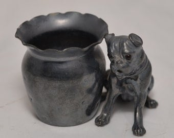 Silver Plate Toothpick Holder Victorian Era, Glass eyes Pug or boxer puppy Derby 2306 Quadruple Plate Figural Circa 1880 glass eyes