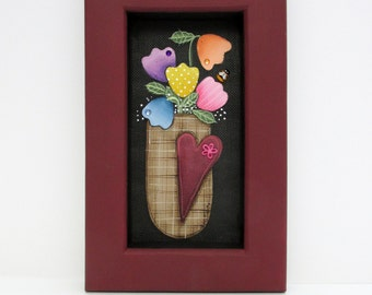 Tulips in a Brown Basket, Hand Painted, Framed in Reclaimed Handcrafted Pine Wood Frame, Spring Tulips, Red Heart, Folk Art Flowers, Tulips
