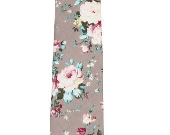 "Men's Slim Gray Floral Tie (2"" Wide) ~ Floral Necktie ~ Wedding / Graduation / Prom / Holidays"
