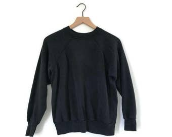 vintage 1970s black soft faded crewneck sweatshirt / xxs xs small / broken in slouchy