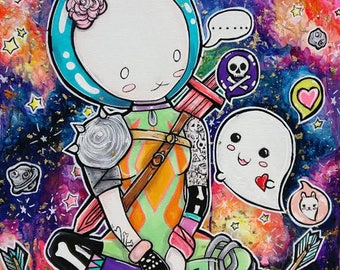 Fallen Stars- 18x24 inches Acrylic Original Painting Art Comic Book Tattoo Art Bunny and Ghost in Space  New Contemporary Art Love Stars