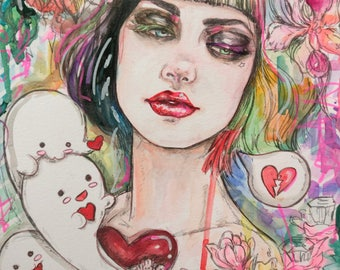 Ghosts of Summer Original 8x10 watercolor illustration art bright colors ghosts and hearts love skulls broken heart tattoo punk