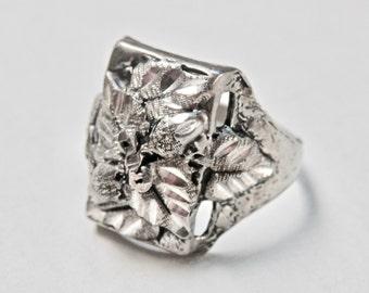 Antique Silver Signet Ring Sterling Silver Black Hills Gold Vintage Signed Jewelry Size 10 Ring Mens Ring Vintage Man 925