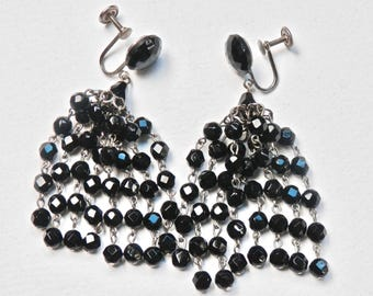Glass Bead Chandelier Earrings Western Germany Black Bead Dangle Earrings Runway Earrings Chandeliers Antique European Vintage Jewelry 1950s