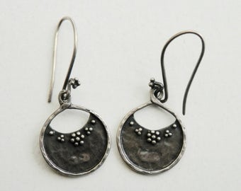 Tribal Style Earrings Sterling Silver Dangle Hoops Signed Vintage Ethnic Jewelry Oxidized Silver Drop Earrings Vintage Jewelry 925