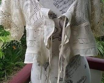 lace shrug - bohemian bolero - rustic romancce - adaptable size  -  large / XL