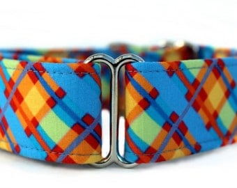 Plaid Martingale Dog Collar in Sky Blue, Orange, Yellow and Red - Extra Wide Dog Collar - 1.5 Inch Wide Martingale Dog Collar