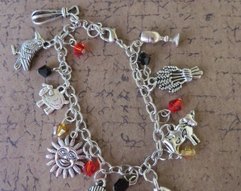 Old Testament Joseph The Dreamer Themed Silver Charm And Crystal Bracelet