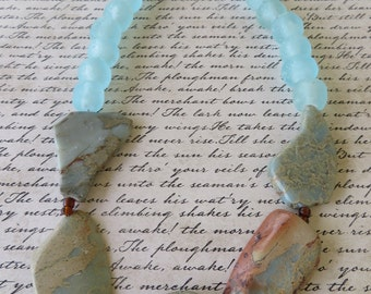 Impression Jasper And African Sea Glass Beaded Necklace