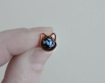 Spotted Cat Earrings, Copper Post Earrings, Cat Lover Gift, Cat Stud Earrings, Black Grey Cats, Cat Jewelry, Cat Earrings, Copper Cat