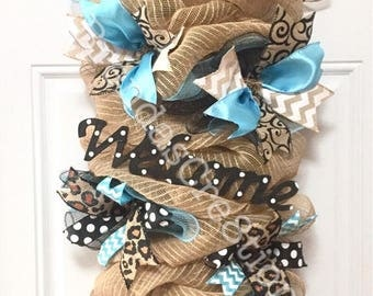Door Swag, Wedding Gift Ideas, Turquoise Decor, Any Day Wreath, New Home Housewarming Gift, Welcome Sign for Front Door, Rustic Home Decor