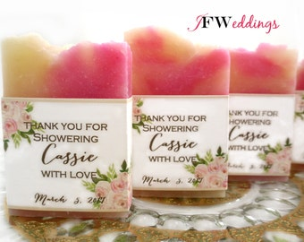 80 Vegan SOAP Favors ~ Bridal Shower ~ Wedding ~ White Tea and Ginger ~ Custom Labels ~ Handmade in 7 days ~ with Cellophane Bags