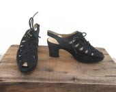 90s Black Suede Flatform Lace Up Sandals Chunky Heel Slingbacks Barneys New York Made In Italy size 37.5
