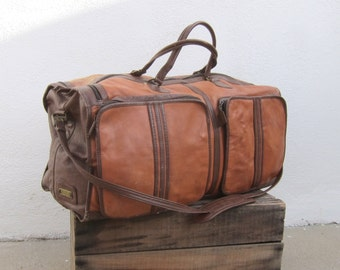 Vintage Cognac Duffle Travel Bag w/Shoulder Strap by Lands