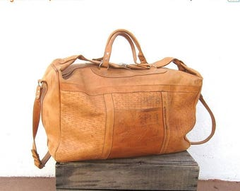 15% Off Out of Town Sale 80s Large Duffle Overnight Weekender Distressed Tan Leather Buckled Tote Travel Bag