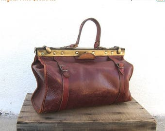 15% Off Out of Town Sale 60s Doctors Bag Distressed Wine Leather Medium Steampunk Tote Handbag