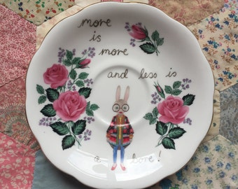 Iris Apfel Bunny More is More and Less is a Bore Illustrated Vintage Plate