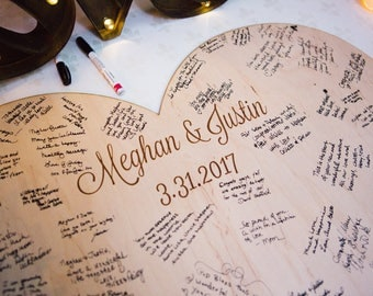Wedding Guestbook Personalized Wooden Heart, Guest Book Alternative for Wedding, Wooden Heart Engraved Names, Rustic Wedding (Item - GBH200)