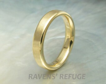 4mm gold wedding ring / flat band -- matte wedding band with polished beveled edges -- comfort fit