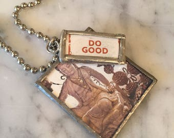 BUDDHA Necklace, Soldered Charm Necklace, Charm Necklace, Spiritual,  DO GOOD - Charmed Vintage