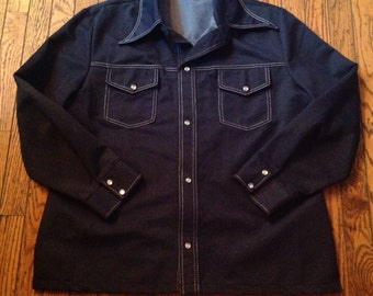 Vintage Men's Polyester JC Penney Denim Look Shirt Jacket Sz XL